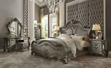 NEW Traditional Antique Platinum 6 piece Bedroom Set w. King Mansion Bed IABW