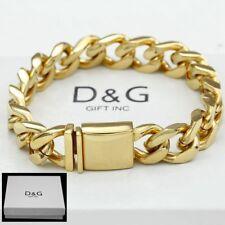 "13mm Miami Cuban Curb Chain Bracelet*Box Dg Men's 8.5"" Gold Stainless Steel"