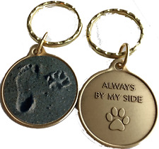 Always By My Side Dog Pet Paw Print Footprint Color Beach Seashell Keychain