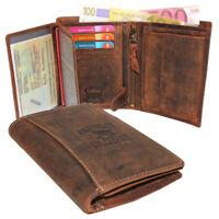 Vintage Leder Herren Geldbörse Portemonnaie Geldbeutel Hochformat Rindleder 991H