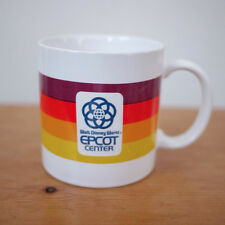 Vintage 1982 Walt Disney World Epcot Center Coffee Mug Rainbow Stripe Japan Tea