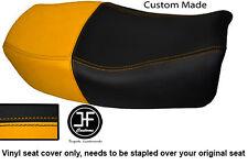 YELLOW BLACK VINYL CUSTOM FITS 91-99 KAWASAKI ZR 750 ZEPHYR DUAL SEAT COVER ONLY