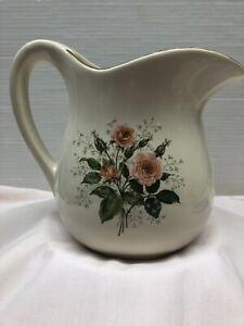 Vintage Porcelain Pitcher Painted Gold Trim & Roses Bouquet 1970 Calendar