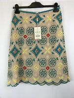 Monsoon ladies skirt brown embroidered flowers sequin viscose mix new size 14 00