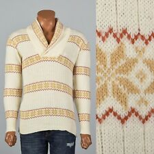 M Vintage 1970s 70s Mens Pullover Alpine Sweater Off White Hippie Boho Acrylic