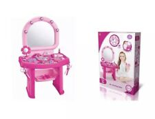Girls Pink Vanity Table Childrens Kids Dressing Mirror Make up Desk Toy Play Set