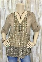 New BKE Boutique XS Brown Sheer V Neck Henley Top Shirt Blouse 3/4 Sleeve Buckle