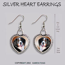 Bernese Mountain Dog - Heart Earrings Ornate Tibetan Silver