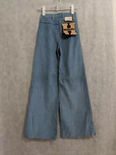 "Vintage 60s Hillbilly NOS Bell Bottom Sky Blue Corduroy Pants Highwaist 24 1/2"""