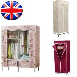 Large Fabric Canvas Wardrobe With Hanging Rail Shelving Clothes Storage Cupboard