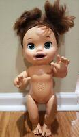 2014 Hasbro Baby Alive Snackin Sarah Brunette English Spanish Bilingual Doll