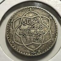 1911 MOROCCO SILVER 1/2 REAL 5 DIRHAMS BETTER COIN