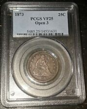 1873 Seated Quarter Open 3 No Arrows PCGS VF25