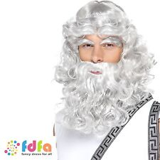 GREY ZEUS GREEK GOD WIG BEARD & EYEBROWS mens fancy dress costume accessory