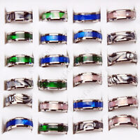 Wholesale 5ps Men Women Stainless Steel Abalone Shell Ring Couple Wedding Rings