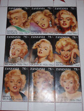 VINTAGE LOT OF 9 TANZANIAN MARILYN MONROE 1926-1962 STAMPS W/CERT. OF AUT.