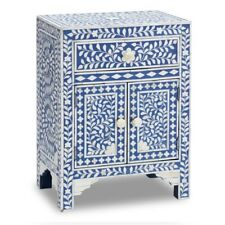 Bone Inlay Blue Floral Handmade Design Round Wooden Antique Bedside Table
