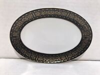 "8 1/4"" Seyei Fine China Serving Platter Regency 6908 Black & Gold Trim"
