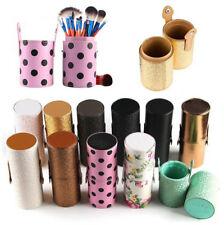 Leather Cosmetic Cup Case Makeup Brush Pen Holder Double-clasp Empty Storage Box