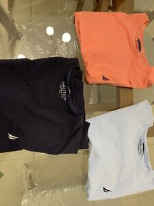 Lot 3 Men's Nautica Performance Tshirt Active Stretch Large Navy Coral Baby Blue