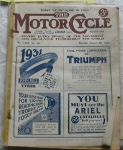 Motor Cycle 8 Jan 1931 Motorcycle Magazine What I Rode in 1930 2 Stroke Maint.