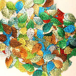 Sequins Leaves/Leaf Mixed Hologram ~100 pcs Green,Gold,Red,Silver,Turq. etc.