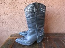 Durango Womens Cowboy Boots Western Black And Gray Leather Size 6.5 M