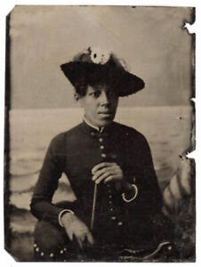 GREAT CHARACTER TINTYPE BLACK AFRICAN AMERICAN WOMAN STRONG FACE & TILTED HAT