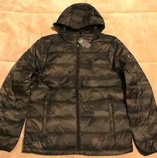 Abercrombie NWT Mens Lightweight Down Filled Hooded Puffer Jacket Black M L
