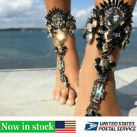 Women Crystal Rhinestone Foot Chain Anklet Bracelet Barefoot Sandal Jewelry 1PCS