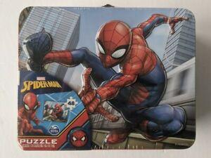 Marvel Spiderman Metal Tin Lunch Box 15x12.5  48 Piece Puzzle Spin Master - NIB