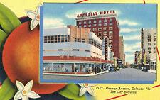 "Orlando,Florida,Orange Ave.""The City Beautiful"",Art Deco,Linen,Used,1949"