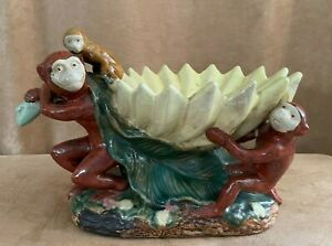 Monkey Majolica Ceramic Pottery Centerpiece Fruit Bowl monkies family leaf table