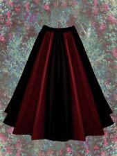 Gothic Mittelalter Rock lang schwarz rot Baumwolle Leinenoptik 36 38 40 42 44 46