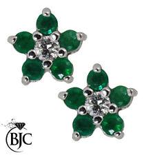 Emerald Not Enhanced White Gold Fine Earrings