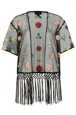 Topshop Schwarz bestickt Blumen Kimono Größe Small/Medium