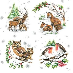 4 x Single Paper Table Napkin/3-Ply/33cm/Decoupage/Christmas/Assorted Animals