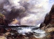 Thomas Moran Seascape with Castle in Backgroud Ocean Print Wall Decor Small 8x10