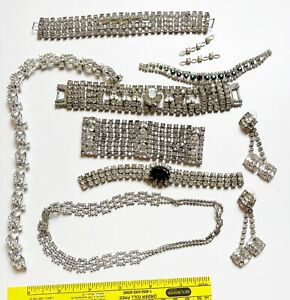 Vintage lot of rhinestone bracelets and parts for jewelry making or repair