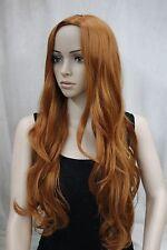 New fashion no bangs side skin top orange brown synthetic women's wig AO9