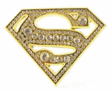 SUPER HERO S SUPER MAN GOLD BLING LOGO BELT BUCKLE DC SUPERMAN GIRL SNAP BELT