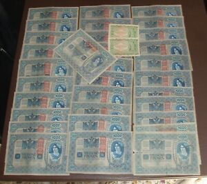 AUSTRIA LOT OF 34 BANKNOTES  100 & 1000 KRONEN 1902 - 1922