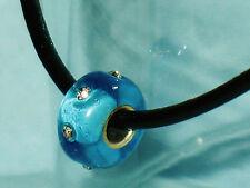 Leder Band Halskette Straß Murano Glas Perle Bead Silber Charm Halsreif Halsband