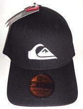 MENS QUIKSILVER FITTED BLACK HAT CAP SIZE M/L