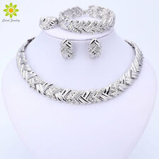 Silver Plated Jewelry Set Bridal Crystal Necklace Earrings Bracelet Ring Sets