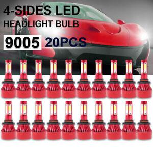 20PCS Whosesale 4-Sides 9005 9145 H10 LED Headlight Bulb 6000K White Kit Lamp US