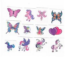 12 x Cute Fairy, Unicorn , Butterfly, etc Temporary Tattoos - Kids Party Favours