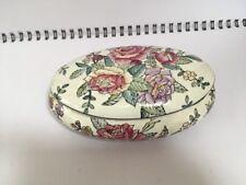 Large Rose Pattern Ceramic Trinket Pot