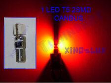 1Lampadina a LED T5 SMD ROSSI Luci zoccolo tuttovetro CRUSCOTTO CANBUS 12V 1,2W