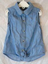 Baby Girls Evie Angel Blue Soft Denim Tie Front Shirt Blouse Age 18-24 Months